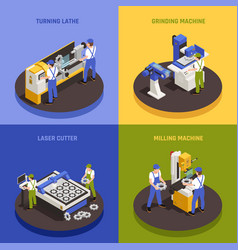 Industrial machinery concept icons set vector