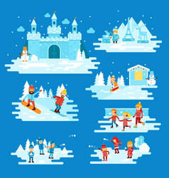 Infographic elements winter entertainments people vector