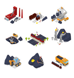 Isometric coal industry with workers in mine vector