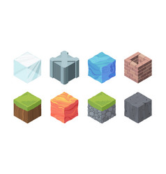 isometric landscape cubes set play formations vector image