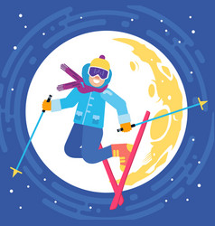 Jumping happy skier on the moon background vector