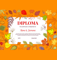Kids diploma with autumn leaves template vector