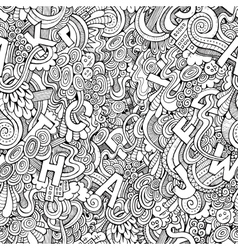 Letters abstract decorative doodles seamless vector