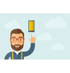 Man pointing the smartphone icon vector image