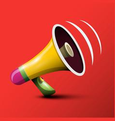 megaphone 3d on red background loudspeaker symbol vector image
