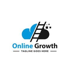 Modern cloud ladder logo vector