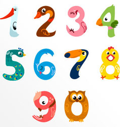 Numbers like birds vector image