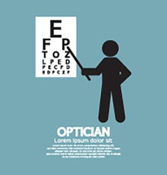 Optician Pointing To Snellen Chart Graphic Symbol vector image