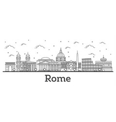 Outline rome italy city skyline with historic vector
