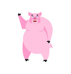 pig happy emoji piggy merry emotion on white vector image