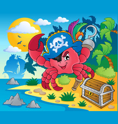 Pirate crab theme image 2 vector