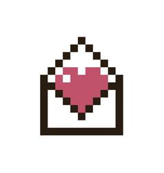 pixel heart in an envelope vector image