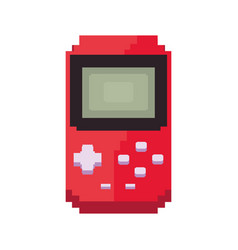 Pixel video game portable console vector
