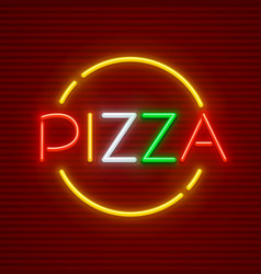 pizza neon sign vector image
