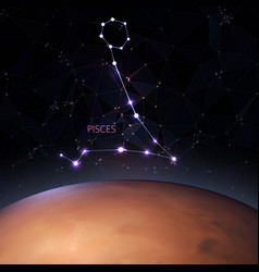 planet with zodiac pisces vector image