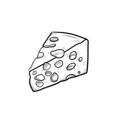 Portion of cheese hand drawn sketch icon vector