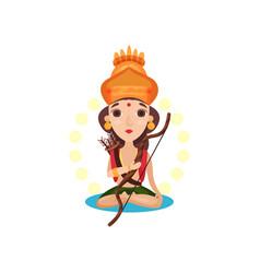 rama indian god with bow and arrow cartoon vector image
