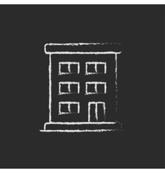 Residential building icon drawn in chalk vector