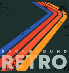 Retro color stripes background with vintage grunge vector