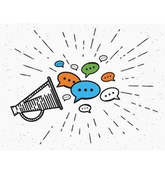 Retro megaphone with speech bubbles concept vector