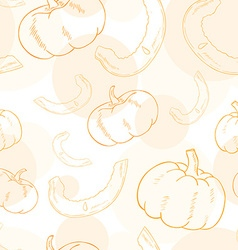 seamless pattern with pumpkin and its slice vector image