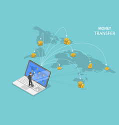 Sending money around world isometric flat vector