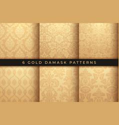 Set damask patterns rich gold ornament vector
