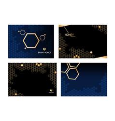 Set horizontal modern honeycomb black background vector