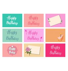 set of bright postcards happy birthday vector image