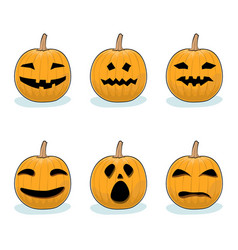 set of pumpkins halloween holiday vector image