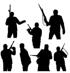 Set of silhouettes a man with arms vector image
