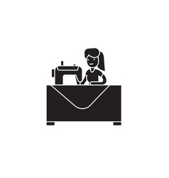 sewing woman black concept icon sewi vector image
