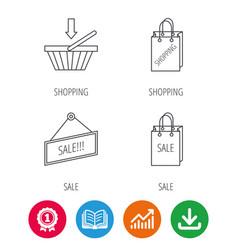 Shopping cart sale bag icons vector