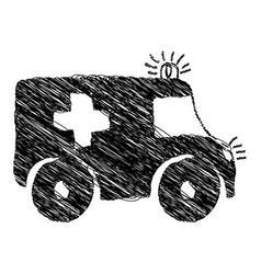 Silhouette drawing ambulance emergency vehicle vector
