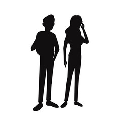 Silhouette teens boy girl student think vector