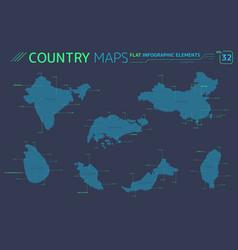 singapore malaysia taiwan china india and sri vector image