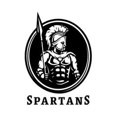 spartan warrior in armor symbol logo vector image