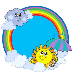 sun and clouds in rainbow circle vector image