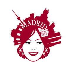 Symbolic image of madrid woman wearing comb with vector