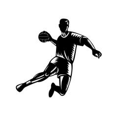 Team handball player jumping scoring woodcut vector