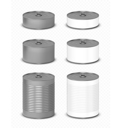 tin can with pull ring side view food metal jars vector image