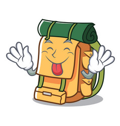 tongue out backpack mascot cartoon style vector image
