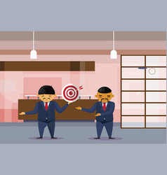 Two asian business men holding target with arrow vector
