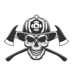 Vintage fireman skull in firefighter helmet vector