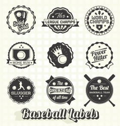 Vintage quality baseball labels vector