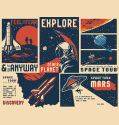 vintage universe posters collection vector image