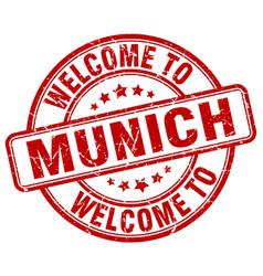 Welcome to munich red round vintage stamp vector