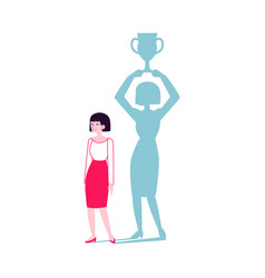 woman with a shadow winner holding cup flat vector image