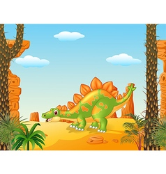 Cartoon cute stegosaurus posing with prehistoric vector image