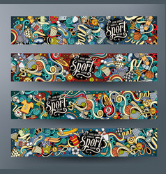 cartoon hand drawn doodles sport banners vector image vector image